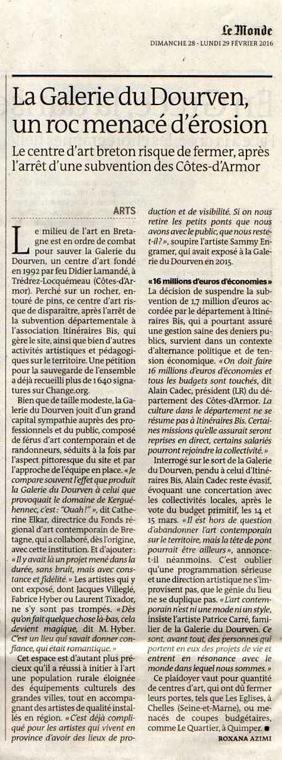 2016, article fermeture de la Galerie du Dourven, Le Monde, 28 février.